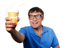 Man holding a paper cup with a straw Stock Photo