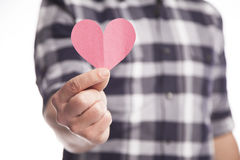Man Holding Paper Heart Royalty Free Stock Photos
