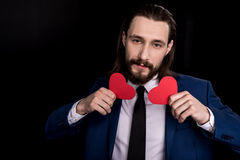 Man holding paper hearts Royalty Free Stock Photos