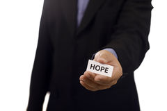 Man Holding Paper With Hope Text Royalty Free Stock Image