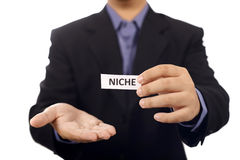 Man Holding Paper With Niche Text Royalty Free Stock Photos