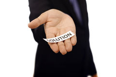 Man Holding Paper With Solution Text Royalty Free Stock Photo
