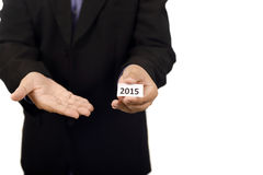 Man Holding Paper With 2015 Text Stock Photography