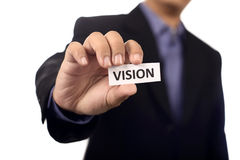 Man Holding Paper With Vision Text Stock Photos