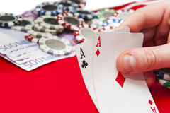 Man holding pair of aces Stock Photos