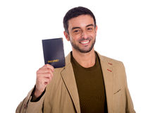 Man holding passport Stock Image
