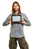 Man holding pc tablet. Blank screen copyspace. Royalty Free Stock Photography