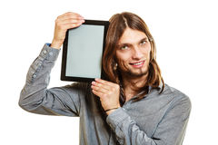 Man holding pc tablet. Blank screen copyspace. Stock Photos