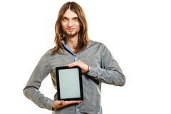 Man holding pc tablet. Blank screen copyspace. Royalty Free Stock Image