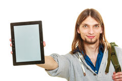 Man holding pc tablet. Blank screen copyspace. Stock Image
