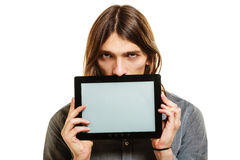 Man holding pc tablet. Blank screen copyspace. Royalty Free Stock Photo