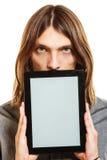 Man holding pc tablet. Blank screen copyspace. Stock Photo