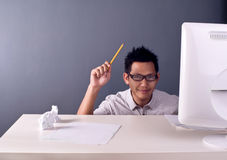 Man holding pencil Royalty Free Stock Photo