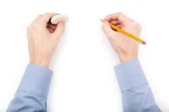 Man holding pencil and eraser Royalty Free Stock Photo