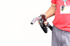 Man holding petrol pump isolated Royalty Free Stock Photos