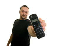 Man  holding the phone. Man on a white background, holding the phone Stock Photos