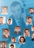 Man holding phone with Profile portraits of people contacts Royalty Free Stock Photos