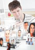 Man holding phone with Profile portraits of people contacts Stock Photos