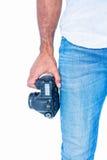 A man holding photo camera Royalty Free Stock Image