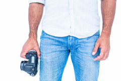 A man holding photo camera Stock Image