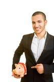 Man holding piggy bank Royalty Free Stock Image