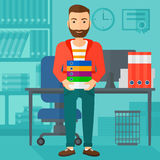 Man holding pile of folders. A hipster man with the beard standing with pile of folders on the background of business office vector flat design illustration Royalty Free Stock Photos