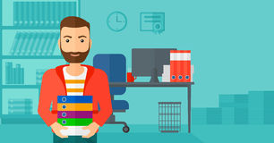 Man holding pile of folders. A hipster man with the beard standing with pile of folders on the background of business office vector flat design illustration Royalty Free Stock Photo