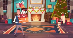 Man Holding Pile Of Gift Boxes In Living Room Decorated For Merry Christmas And Happy New Year With Green Tree And. Fireplace Flat Vector Illustration Stock Photography