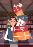 Man Holding Pile Of Gift Boxes Walking Through Living Room Holiday Presents Concept Vertical Banner. Flat Vector Illustration Royalty Free Stock Image