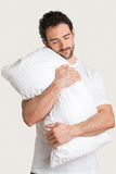Man Holding Pillow Stock Images