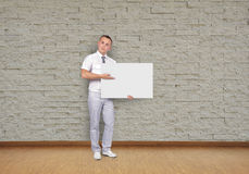 Man holding placard Royalty Free Stock Photo