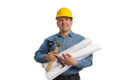 Man holding plans and tools. Isolated on a white background Stock Images