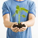 Man holding plant. Royalty Free Stock Images
