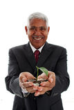 Man Holding Plant In Money Stock Image