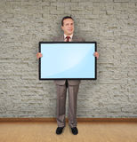 Man holding plasma Royalty Free Stock Photos