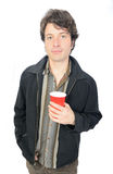 Man Holding Plastic Cup stock photography