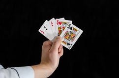 Man holding playing cards Royalty Free Stock Photo