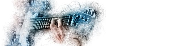 Man holding playing a guitar, blue brown color image with digital effects sketch silhouette on white panoramic background copy. Free space for your conceptual stock illustration