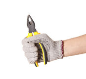 Man holding Pliers isolated. On white background Stock Image