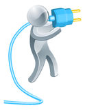 Man holding plug Royalty Free Stock Photography
