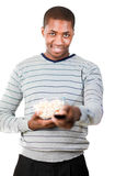 Man holding popcorn Royalty Free Stock Photography