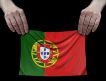 Man holding Portuguese flag Royalty Free Stock Photo