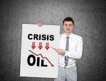 Man holding poster with srisis chart Stock Photo