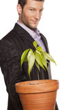 Man holding pot with a tree Stock Image