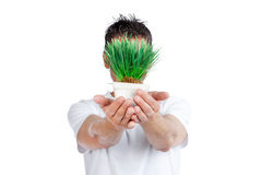 Man Holding Potted Plant Royalty Free Stock Image