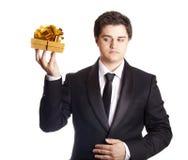 A man holding present box Stock Photos