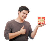 A man holding present box on white background. Stock Photography