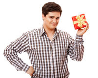 A man holding present box on white background. Royalty Free Stock Image