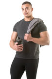 Man Holding a Protein Shake Stock Photo