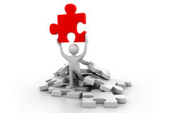 Man holding the puzzle Royalty Free Stock Photography